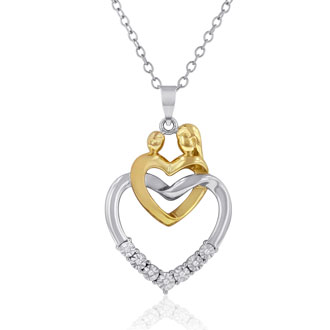 Mother and Child Diamond Heart Necklace