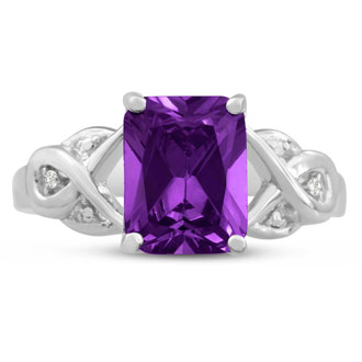 2 3/4ct Emerald Shape Amethyst and Diamond Infinity Ring