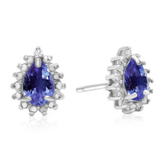 2/3ct Pear Shaped Tanzanite and Diamond Halo Earrings