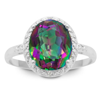 Oval 2 3/4ct Mystic Topaz and Diamond Ring