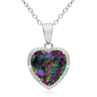 3ct Mystic Topaz and Diamond Heart Necklace