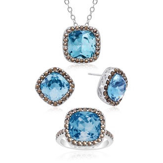 12ct Cushion Cut Crystal Aquamarine and Marcasite Necklace, Ring and Earring Set