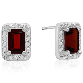 SuperJeweler 1.5 Carat Garnet and Diamond Earrings