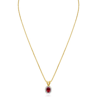 3/4ct Ruby and Diamond Halo Necklace