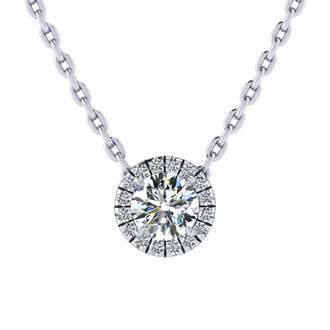 1/2ct Center of The Universe Diamond Halo Necklace