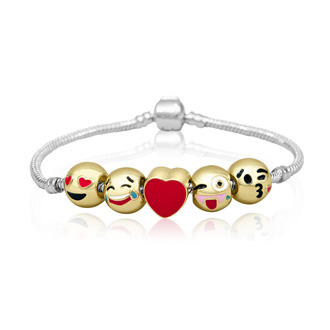 18K Gold Plated Emoji Charm Bracelet, 5 Charms Total