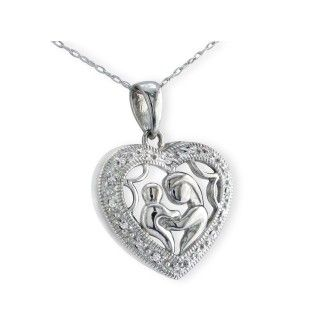 Mother and Child Diamond Heart Pendant in 10k White Gold