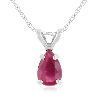 Pear Shaped .60ct Ruby Pendant (14k White Gold)