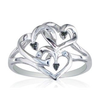 black diamond and sterling silver triple heart ring. Black Bedroom Furniture Sets. Home Design Ideas