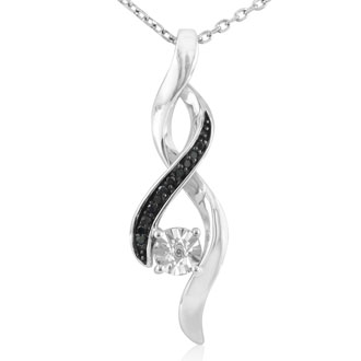 Swirling Black and White Diamond Necklace