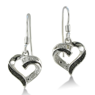 These Delicate and dainty black and white diamond heart earrings in sterling silver are perfect for everyday wear. Diamond content is .01 carat in I2 clarity.