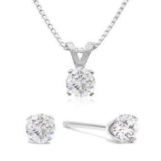 Diamond Stud Earrings Raised 1 3 Carat Studs And Necklace Set