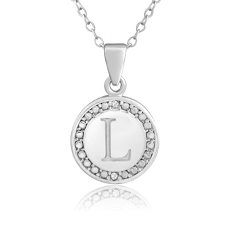 M initial diamond necklace in sterling silver 18 inches superjeweler l initial diamond necklace in sterling silver 18 inches aloadofball Gallery