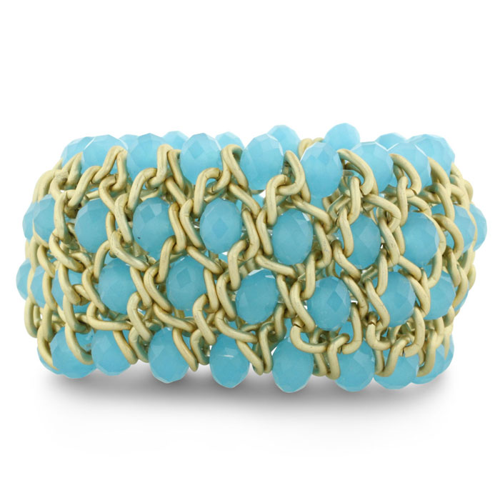 Light Blue Opaque Crystal and Matte Finish Gold Tone Stretch Bracelet
