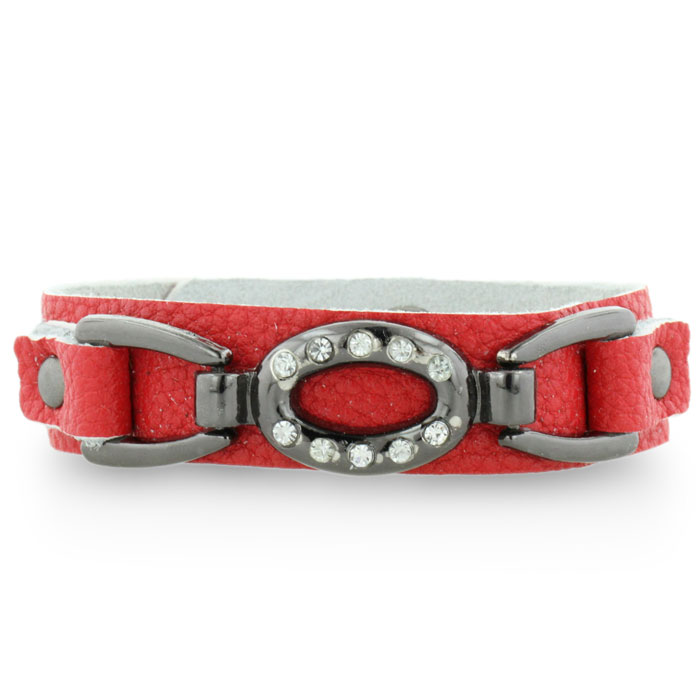 Skinny Red Leather and Rhinestone Cuff Bracelet, Fits 6-7-8 Inches