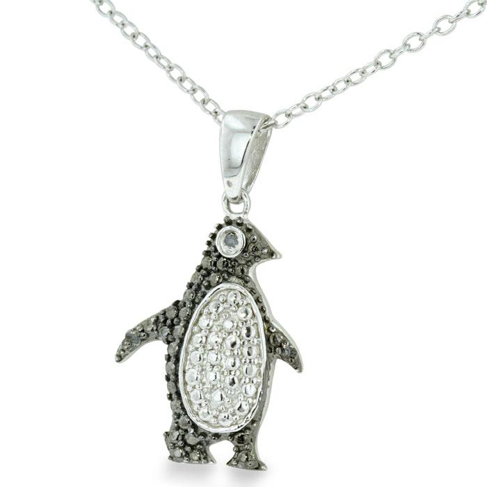 adorable black penguin necklace in sterling silver