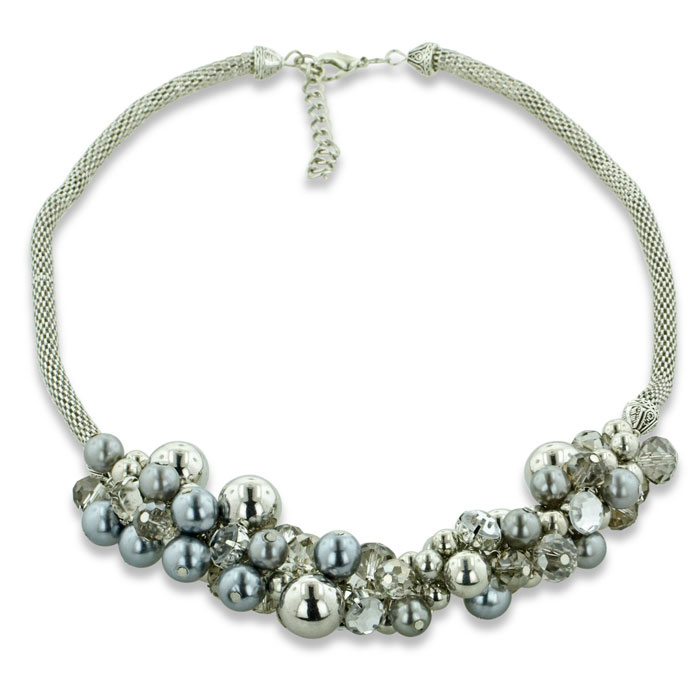 Celestial Bead and Crystal Cluster Silver Tone Necklace, 24 Inches Long