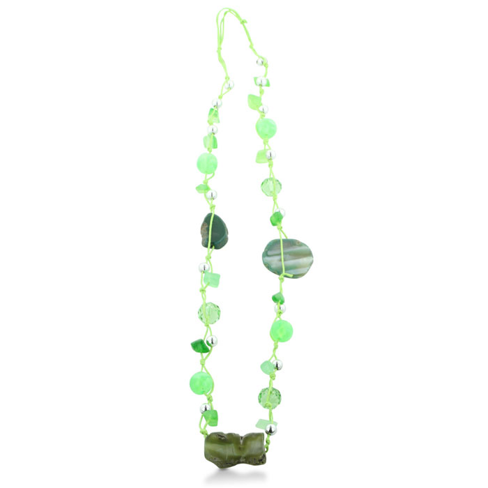 Trendy Lime Green Hand Knotted Beaded Necklace With Stone Accents