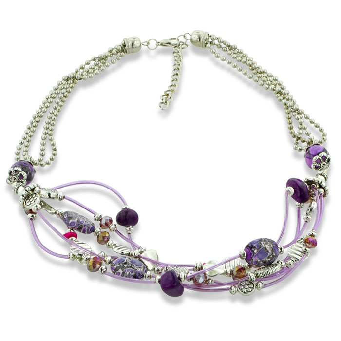 Playful Pink and Purple Silver Tone Multi Strand Necklace, 22 Inches Long