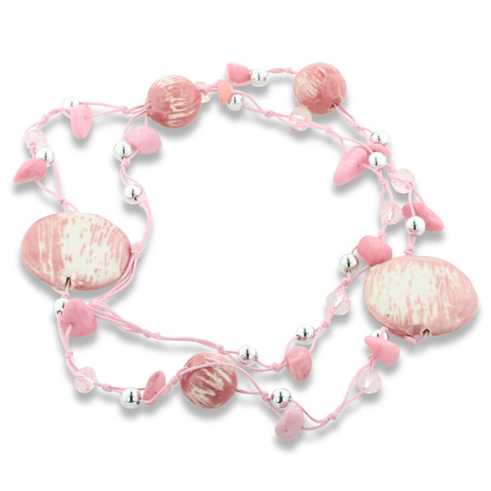 Pretty in Pink Striated Ceramic Bead Necklace With Crystal Accents, 41 Inches Lo...