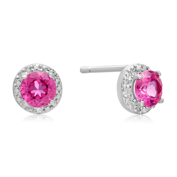 1ct Created Pink Sapphire and Diamond Stud Earrings in Sterling Silver