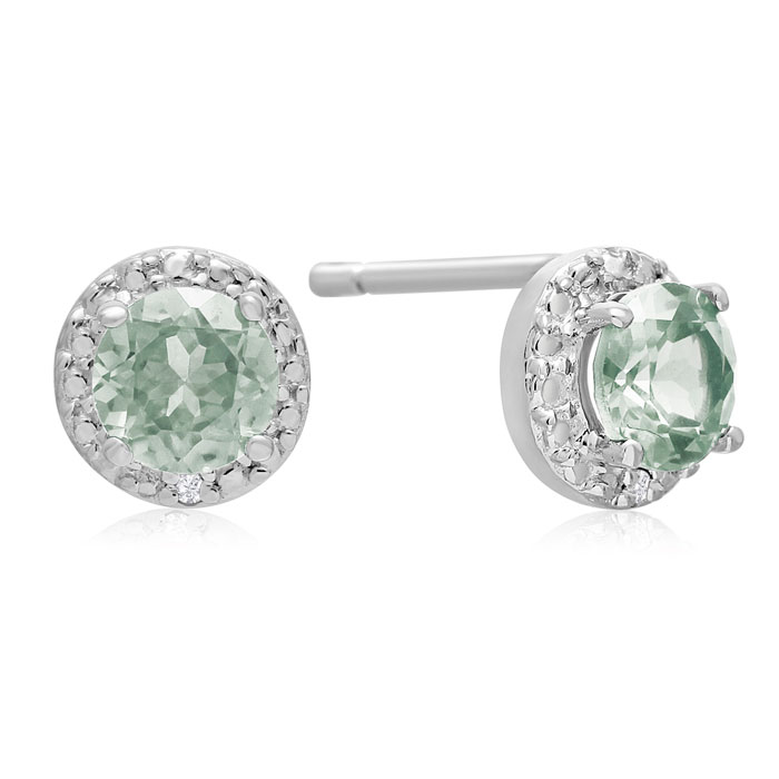1 1/3 Carat Green Amethyst And Diamond Stud Earrings In Sterling Silver