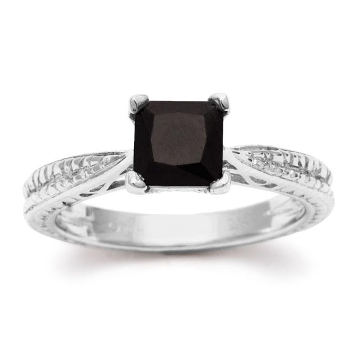 1ct princess cut black diamond solitaire antique model. Black Bedroom Furniture Sets. Home Design Ideas