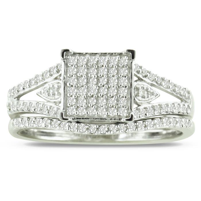 1/3ct  Big Looking Princess Shaped Center Diamond Bridal Set