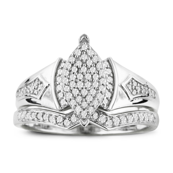 1/3ct Big Looking Marquise Shaped Center Diamond Engagement Ring Bridal Set in Sterling Silver
