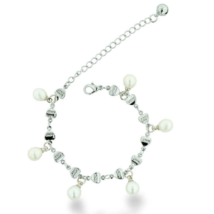 Silver Plated White Drop Pearl and Love Charm Bracelet