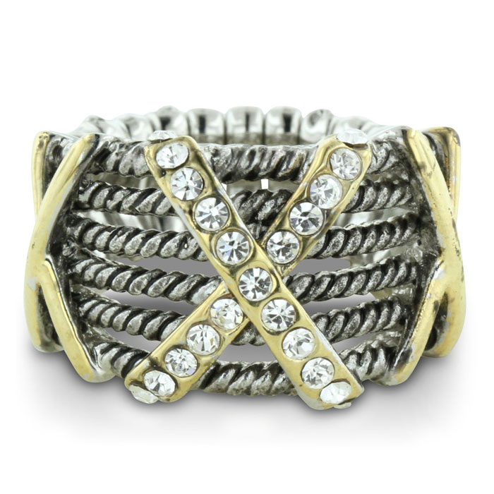 Silver Tone Twisted Cable Ring