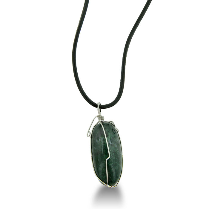 Large Oval-Shaped Wire Wrapped Artsy Green Natural Agate Necklace on 36 Inch..