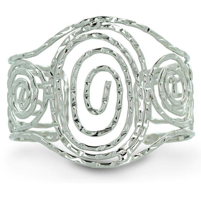 Wide Swirl Silver Tone Cuff Bracelet