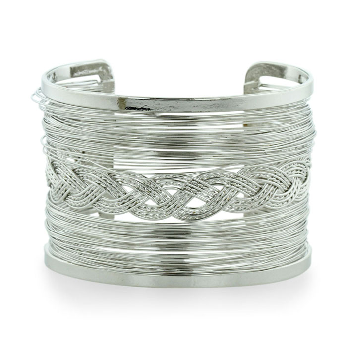 Chunky Wire Braided Weave Silver Tone 2 Inch Wide Cuff Bracelet, Fits 6.5 to 8 Inch Wrist