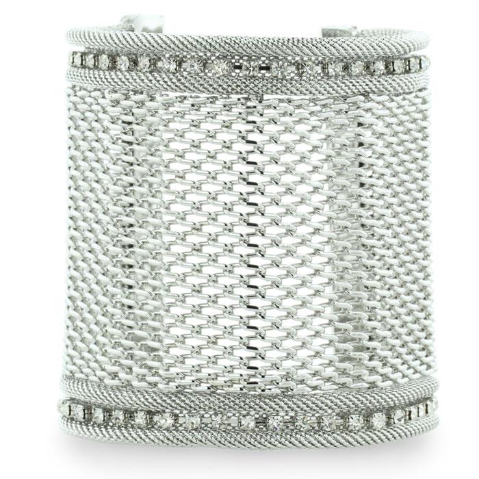 Wide Silver Tone Mesh Massive 3 Inch Cuff Bracelet with A Row Of Fiery Rhinestone Crystals
