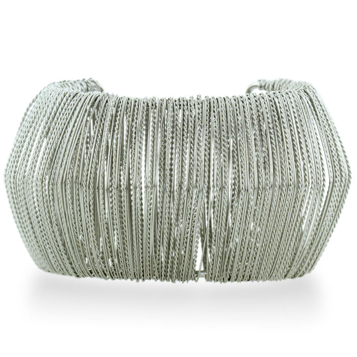 Futuristic Wire Wrapped Chunky Silver Plated 1 3/4 Inch Cuff Bracelet, Fits 6.5 to 8 Inch Wrist