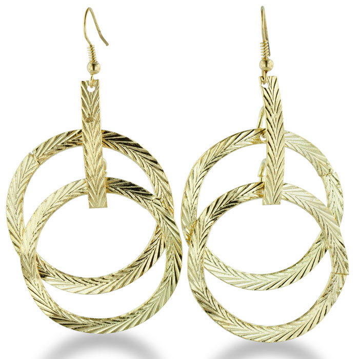 Gold Tone Multi-Hoop Dangle Drop Earrings with Spring Accents, 2.5 Inches long