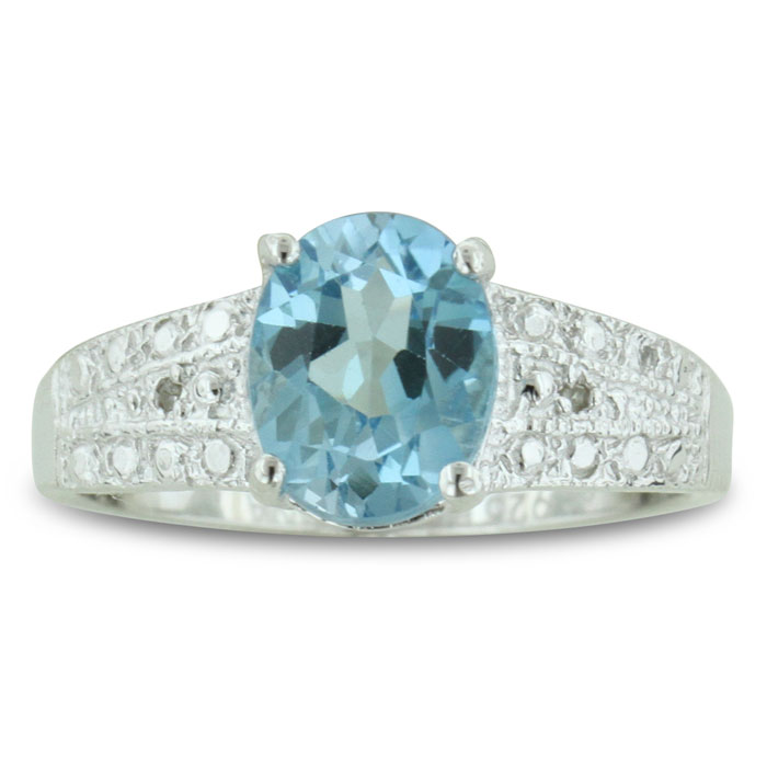 2 1/4ct Oval Shaped Blue Topaz And Diamond Ring In Sterling Silver