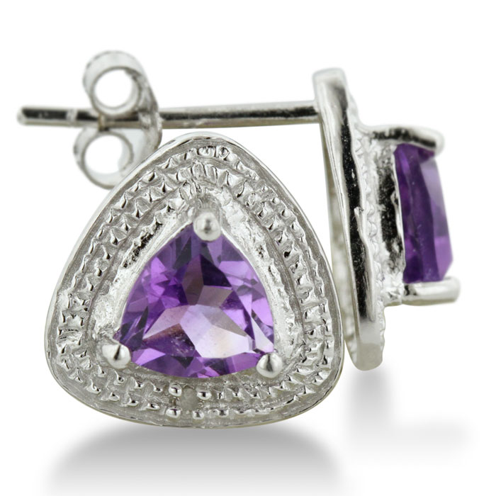 3/4ct Trillion Purple Amethyst And Diamond Earrings In Sterling Silver