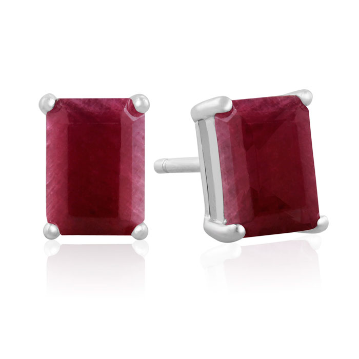 3ct Emerald Cut Indian Ruby Earrings
