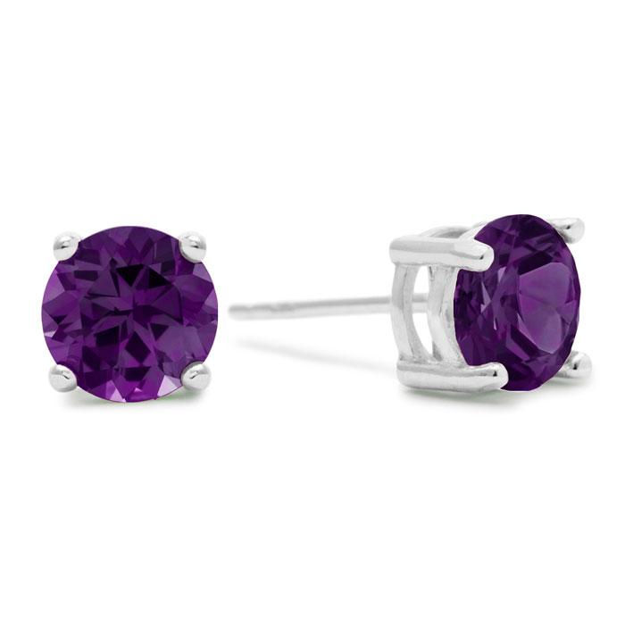 2ct Purple Amethyst Stud Earrings in Sterling Silver