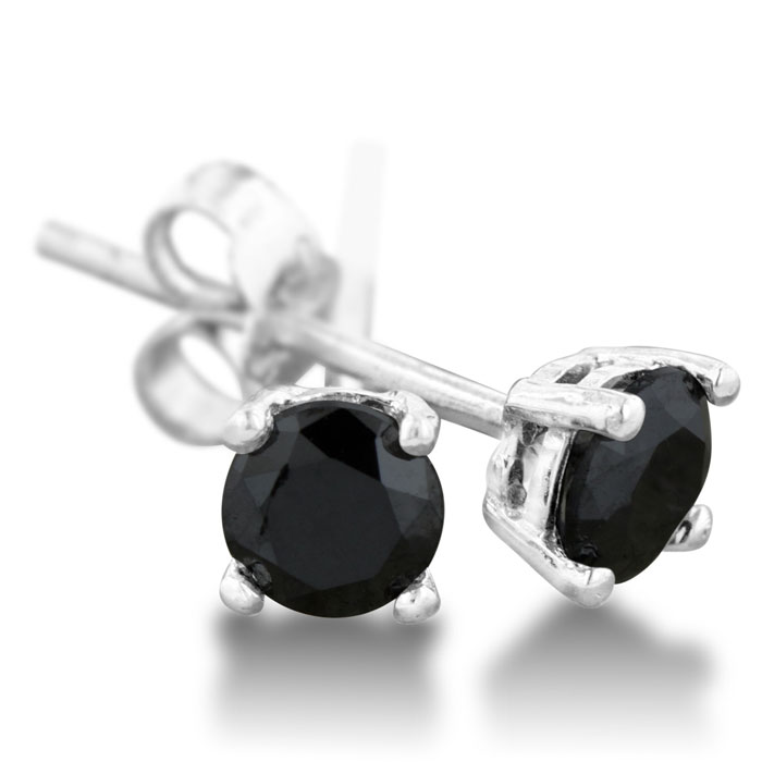 1/2ct Black Diamond Stud Earrings