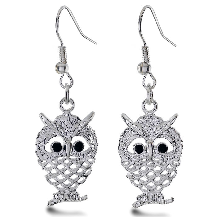 Silver Tone Dangle Owl Earrings with Black Crystal Accents, 1 Inch Long