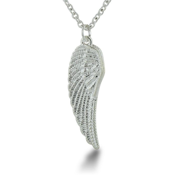 Vintage Inspired Antiqued Silver Tone Wing Necklace, 18 Inches Long