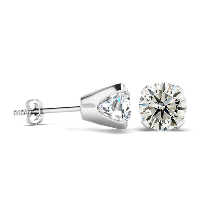 2ct Diamond Stud Earrings In 14k White Gold