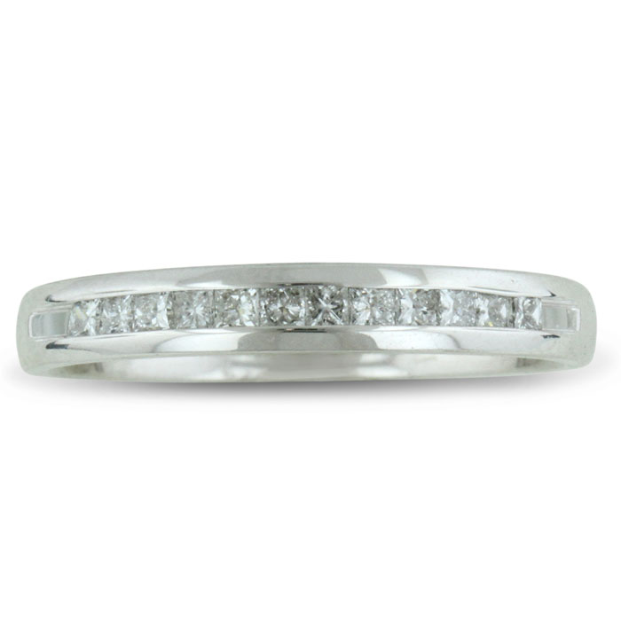 1/4ct Channel Set Diamond Comfort Fit Anniversary Band Ring In 14k White Gold, GH VSI, 4-9.5 thumbnail