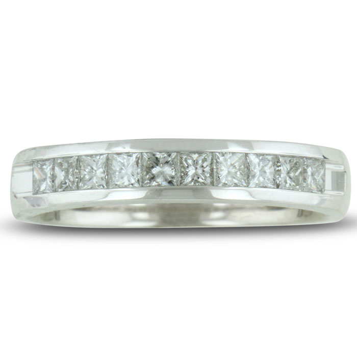 1/2ct Channel Set Diamond Comfort Fit Anniversary Band Ring In 14k White Gold, GH VSI, 4-9.5 thumbnail