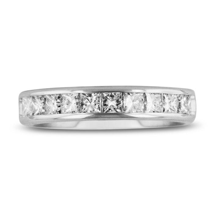 1ct Channel Set Diamond Comfort Fit Anniversary Band Ring In 14k White Gold, GH VSI, 4-9.5 ShopFest Money Saver