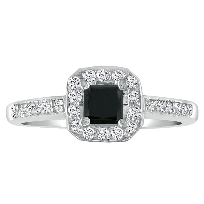 Hansa 1ct Black Diamond Princess Engagement Ring in 14k White Gold, Available Ring Sizes 4-9.5