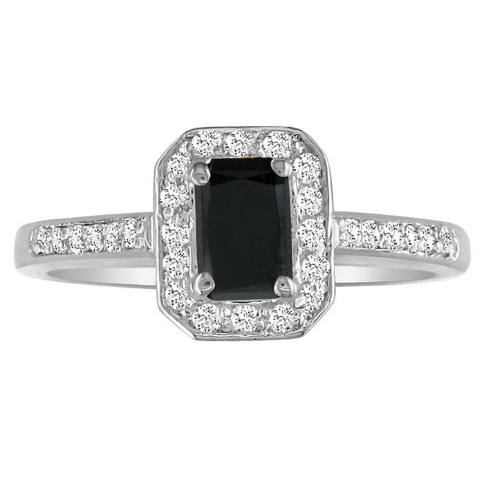 Hansa 3ct Black Diamond Emerald Engagement Ring In 14k White Gold.  Available Ring Sizes 4-9.5